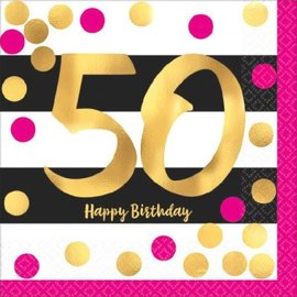 Pink and Gold Milestone 50 Hot-Stamped Beverage Napkins, 16ct