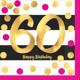 Pink and Gold Milestone 60 Hot-Stamped Luncheon Napkins, 16ct