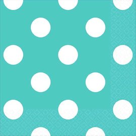 Robin's-Egg Blue Beverage Napkins - Dots 16ct