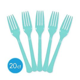 Robin's Egg Blue Premium Heavy Weight Plastic Forks 20ct