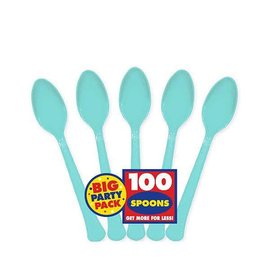 Big Party Pack Robin's-egg Blue Plastic Spoons, 100ct