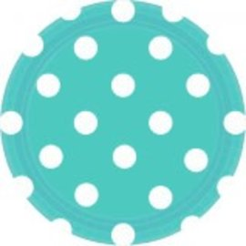 "Robin's‑egg Blue Dots, 7"" Round Plates 8ct"