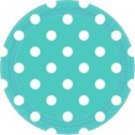 "Robin's‑egg Blue Dots, 9"" Round Plates 8ct"
