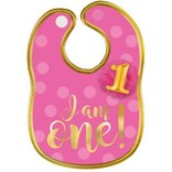 1st Birthday Girl Fabric Bib