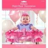 1st Birthday Deluxe High Chair Decoration ‑ Pink