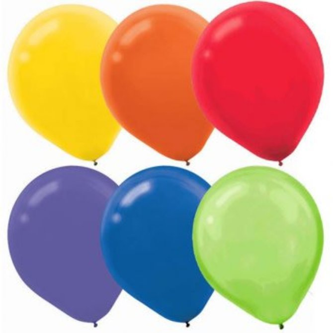 Assorted Solid Color Latex Balloons, 15ct