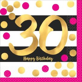 Pink and Gold Milestone 30 Hot-Stamped Beverage Napkins, 16ct