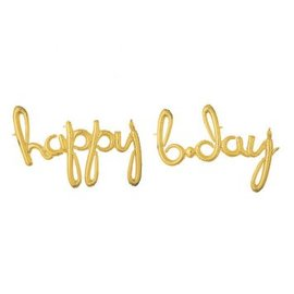"Foil Balloon Script Phrase ""Happy Birthday"" - Gold"