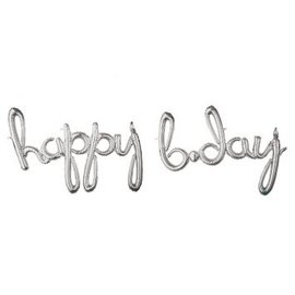 "Foil Balloon Script Phrase ""Happy Birthday"" - Silver"