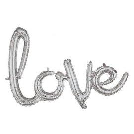 "Foil Balloon Script Phrase ""Love"" Silver"