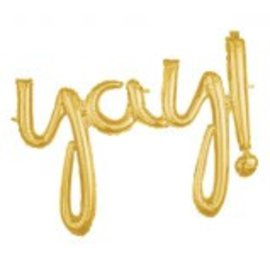 Yay! Balloon Script Phrase Gold
