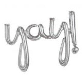 Yay! Balloon Script Phrase Silver
