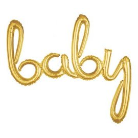 """Foil Balloon Script Phrase """"Baby"""" Gold"""