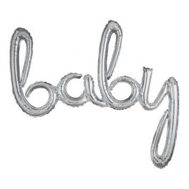 """Foil Balloon Script Phrase """"Baby"""" Silver 33"""" H x 39"""" W"""