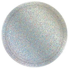 "Round Prismatic Plates, 7"" - Silver 8ct"