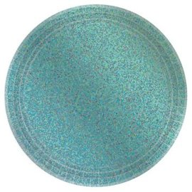 "Round Prismatic Plates, 7""- Robin's Egg Blue 8ct"