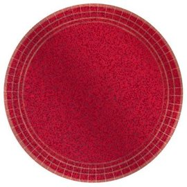 "Round Prismatic Plates, 9"" - Apple Red 8ct"