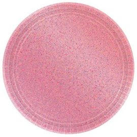 "Round Prismatic Plates, 9"" - New Pink 8ct."