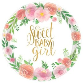 """Floral Baby Round Plates, 7"""" 8ct"""