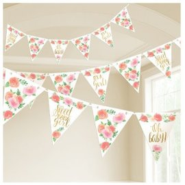 Floral Baby Pennant Banner