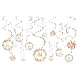 Floral Baby Value Pack Spiral Decorations, 12ct