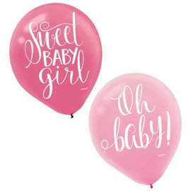 Floral Baby Latex Balloons- Asst Colors 15Ct