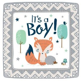 "Bear-ly Wait 7"" Square Plates 8Ct"