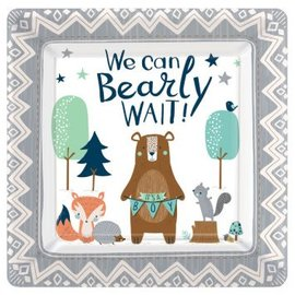 "Bear-ly Wait 10"" Square Plates 8Ct"