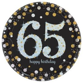 "Sparkling Celebration 65 Round Prismatic Plates, 7"", 8ct"