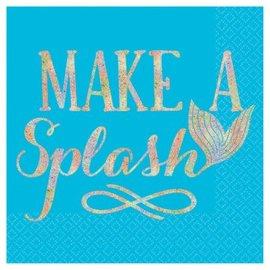 Mermaid Wishes Make A Splash Beverage Napkins 16Ct
