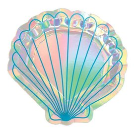 Mermaid Wishes Shell Shaped Iridescent Plates 8Ct