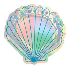 Mermaid Wishes Shell Shaped Iridescent Plates 8Ct