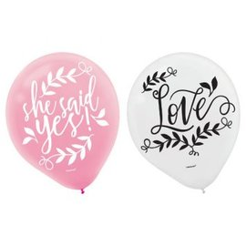 Love And Leaves Latex Balloons - Asst. Colors 15ct