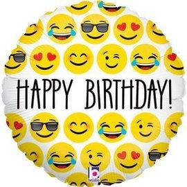 "Emoji Happy Birthday Balloon, 18"""