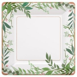 "Love And Leaves Square Metallic Plates, 10"", 8ct"