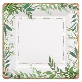"Love And Leaves Square Metallic Plates, 7"", 8ct"