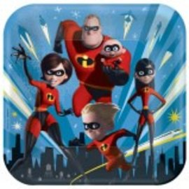 "©Disney/Pixar Incredibles 2 Square Plates, 9"" 8ct. - Clearance"