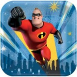 "©Disney/Pixar Incredibles 2 Square Plates, 7"" 8ct. - Clearance"