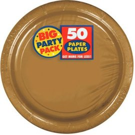 "Gold Big Party Pack Paper Plates, 9"" 50ct."