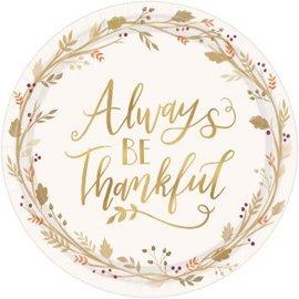 "Always Be Thankful Round Plates, 10 1/2"" 18ct."
