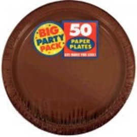 """Chocolate Brown Big Party Pack Paper Plates, 7"""" 50ct."""