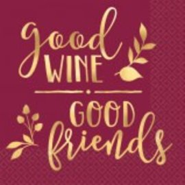 Good Wine & Good Friends Beverage Napkins 16ct.