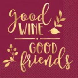 Good Wine & Good Friends Beverage Napkins 16ct.