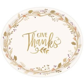 """Always Be Thankful Oval Plates, 12"""" 18ct."""