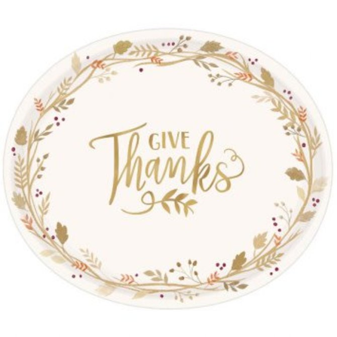 "Always Be Thankful Oval Plates, 12"" 18ct."