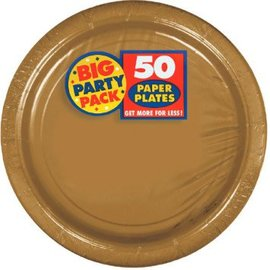 "Gold Big Party Pack Paper Plates, 7"" 50ct."