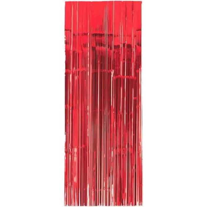 Apple Red Metallic Door Curtain