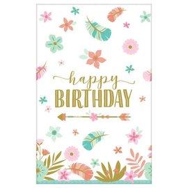 Boho Birthday Girl Paper Table Cover