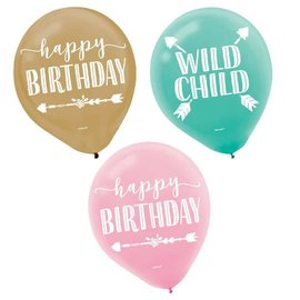 Boho Birthday Girl Printed Latex Balloons - Asst. Colors 15CT