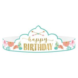 Boho Birthday Girl Paper Tiaras 8CT